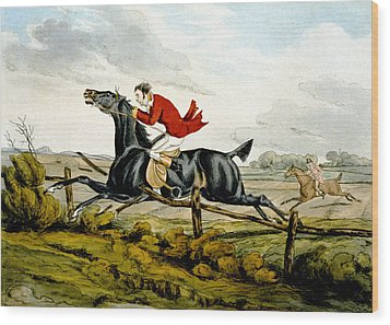 Straight Through The Fence From Qualified Horses And Unqualified Riders Wood Print by Henry Thomas Alken