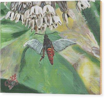 Strange Bug At Flowers Wood Print