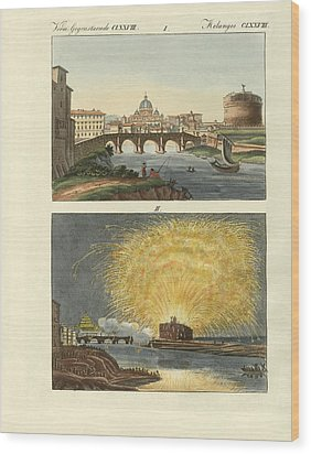 Strange Buildings In Rome Wood Print by Splendid Art Prints