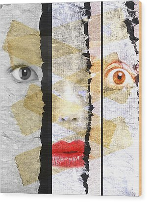 Strange Faces Wood Print by David Ridley