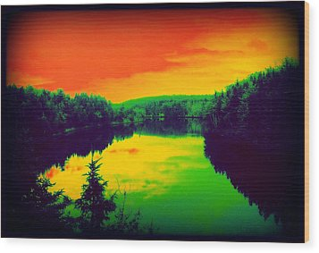 Wood Print featuring the digital art Strange River Scene by Jason Lees