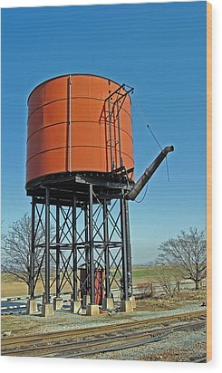 Strasburg Water Tower Wood Print by Skip Willits