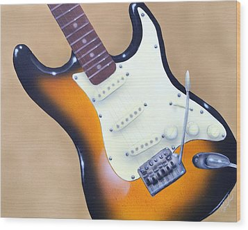 Strat O. Caster Wood Print by Chris Fraser