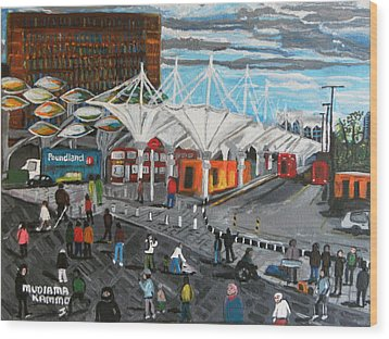 Wood Print featuring the painting Stratford Bus Station Study 02 by Mudiama Kammoh