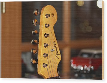 Wood Print featuring the photograph Stratocaster Headstock by Chris Thomas