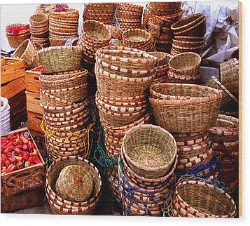 Straw Baskets Wood Print