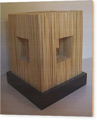 Straw Cube Wood Print by Daniel P Cronin