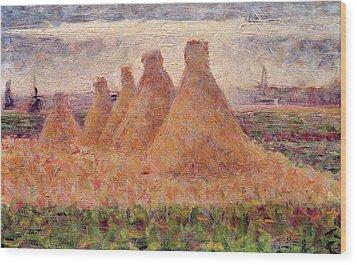 Straw Stacks Wood Print by Georges Pierre Seurat