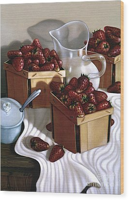 Strawberries And Cream 1997 Wood Print by Larry Preston