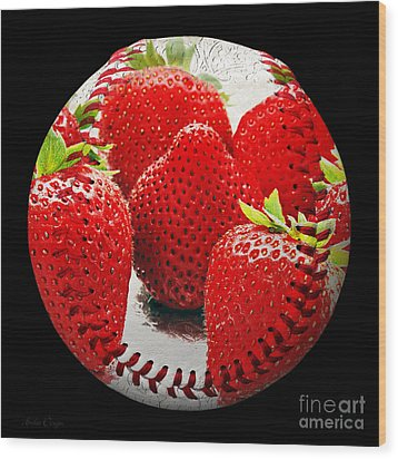 Strawberries Baseball Square Wood Print by Andee Design