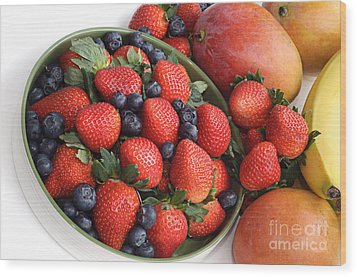 Strawberries Blueberries Mangoes And A Banana - Fruit Tray Wood Print by Andee Design