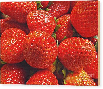 Strawberries Wood Print by Clare Bevan