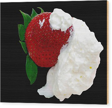 Strawberry And Cream Wood Print by Camille Lopez