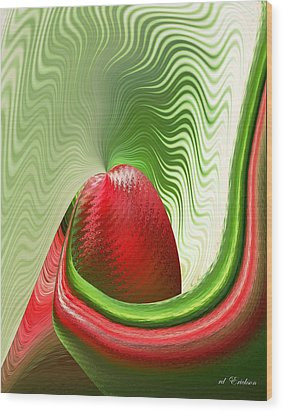 Wood Print featuring the digital art Strawberry And Fan by rd Erickson