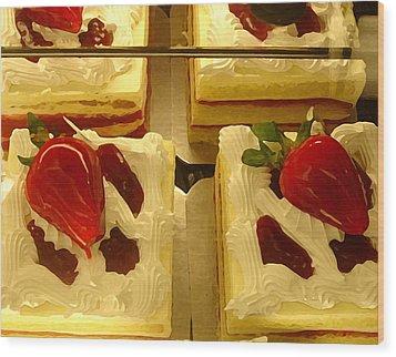 Strawberry Cakes Wood Print by Amy Vangsgard