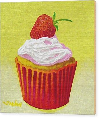 Strawberry Cupcake Wood Print by John  Nolan