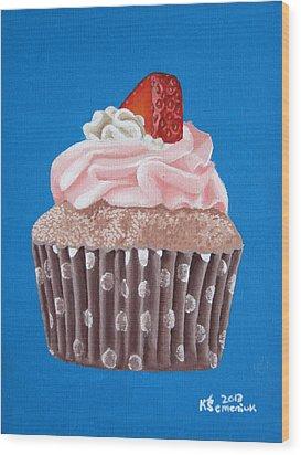 Strawberry Cupcake Wood Print by Kayleigh Semeniuk