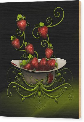 Strawberry Fancy Wood Print
