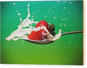 Strawberry Milk Wood Print