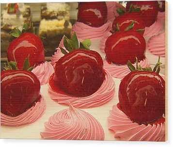 Strawberry Mousse Wood Print by Amy Vangsgard