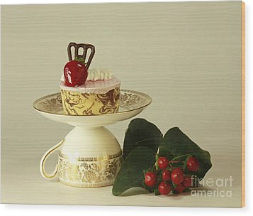 Strawberry Mousse Dessert For One Wood Print by Inspired Nature Photography Fine Art Photography