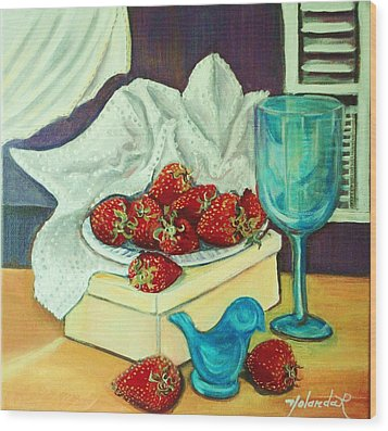 Wood Print featuring the painting Strawberry On Box by Yolanda Rodriguez