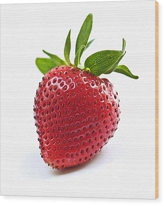 Strawberry On White Background Wood Print by Elena Elisseeva