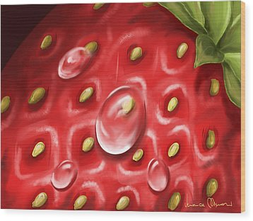 Strawberry Wood Print by Veronica Minozzi