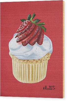 Strawberry White Wood Print by Kayleigh Semeniuk
