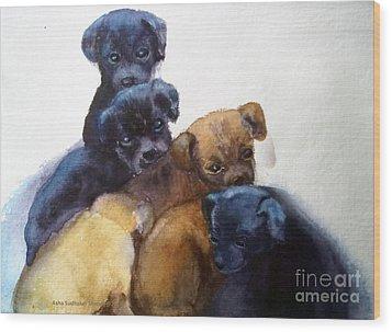Stray Puppies Wood Print