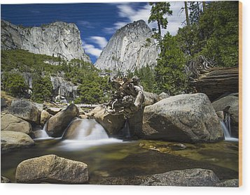 Stream Above Vernal Falls Wood Print by Mike Lee