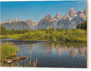 Stream At The Tetons Wood Print by Robert Bynum