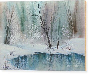 Stream Cove In Winter Wood Print