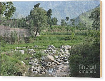 Wood Print featuring the photograph Stream Trees House And Mountains Swat Valley Pakistan by Imran Ahmed