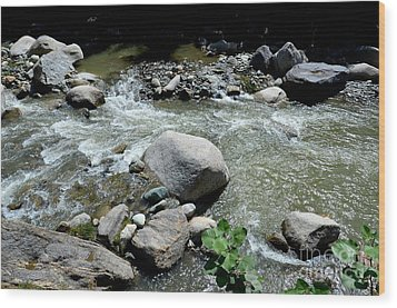 Wood Print featuring the photograph Stream Water Foams And Rushes Past Boulders by Imran Ahmed