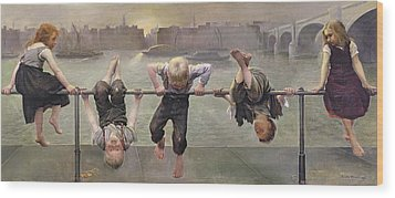 Street Arabs At Play Wood Print by Dorothy Stanley