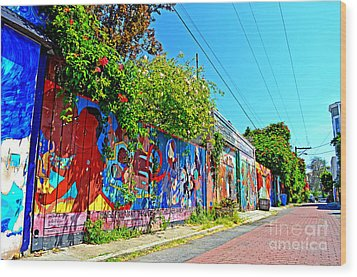 Street Art In The Mission District Of San Francisco IIi Wood Print by Jim Fitzpatrick
