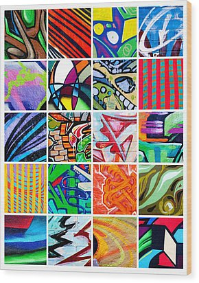 Street Art Patchwork Wood Print by Art Block Collections