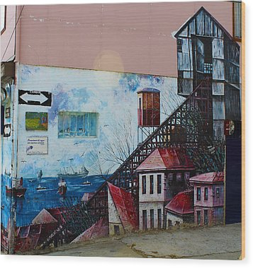 Street Art Valparaiso Chile 17 Wood Print by Kurt Van Wagner