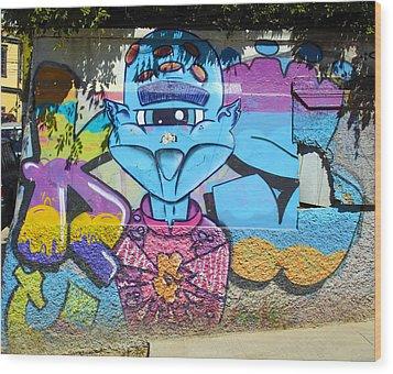 Street Art Valparaiso Chile 9 Wood Print by Kurt Van Wagner