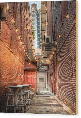 Wood Print featuring the photograph Street Cafe by Anna Rumiantseva