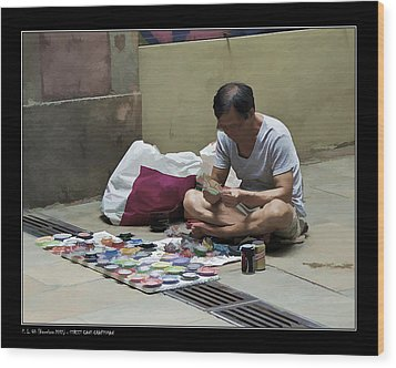 Wood Print featuring the photograph Street Cans Craftsman by Pedro L Gili