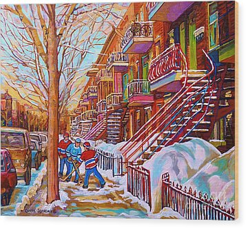 Street Hockey Game In Montreal Winter Scene With Winding Staircases Painting By Carole Spandau Wood Print by Carole Spandau