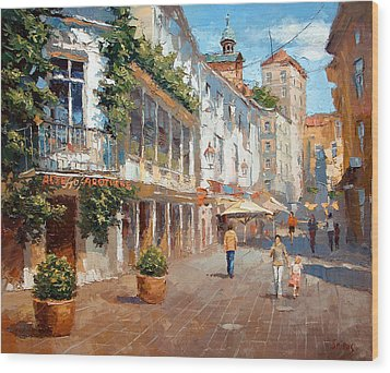 Wood Print featuring the painting Street In Baden Baden by Dmitry Spiros