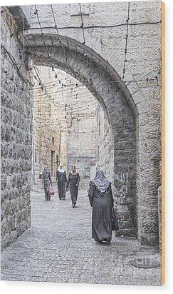 Street In Jerusalem Old Town Israel Wood Print