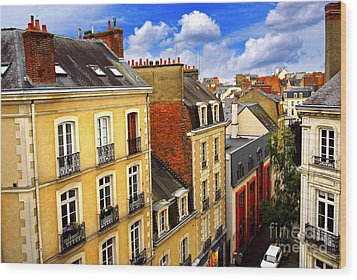 Street In Rennes Wood Print by Elena Elisseeva