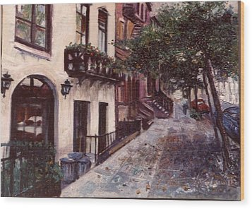 street in the Village NYC Wood Print by Walter Casaravilla
