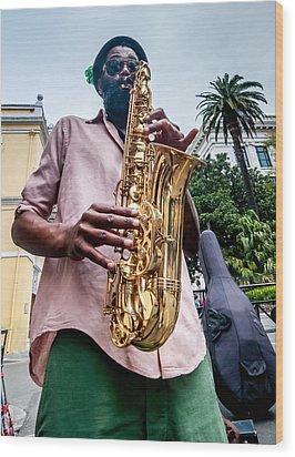 Street Jazz On Display Wood Print