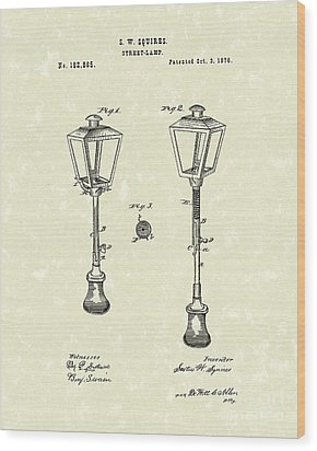 Street Lamp 1876 Patent Art Wood Print by Prior Art Design