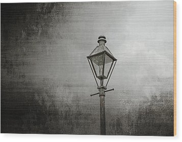Street Lamp On The River Wood Print by Brenda Bryant